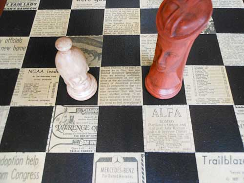 Custom Chessboard made from Vintage Newsprint | Storypiece