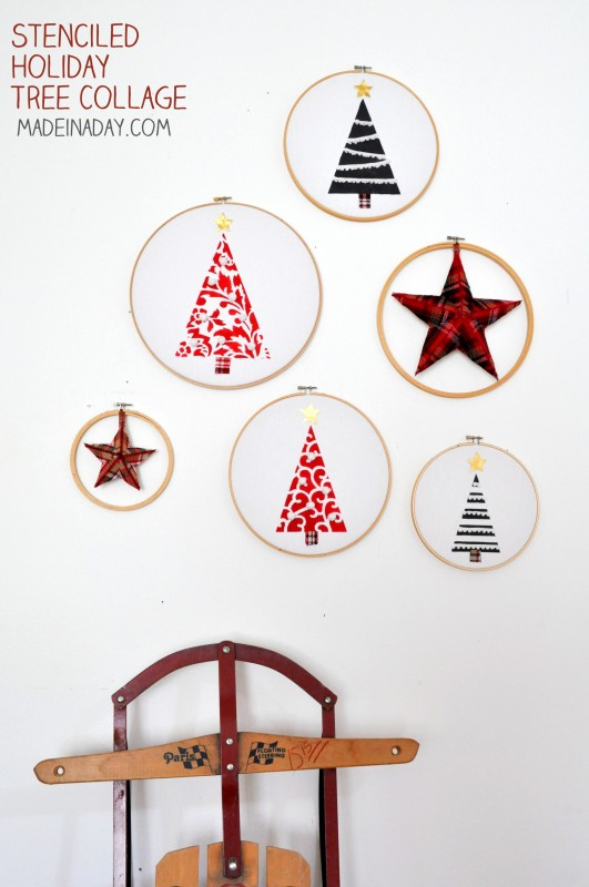 Embroidery Hoop Holiday Trees Wall Art with Stencils