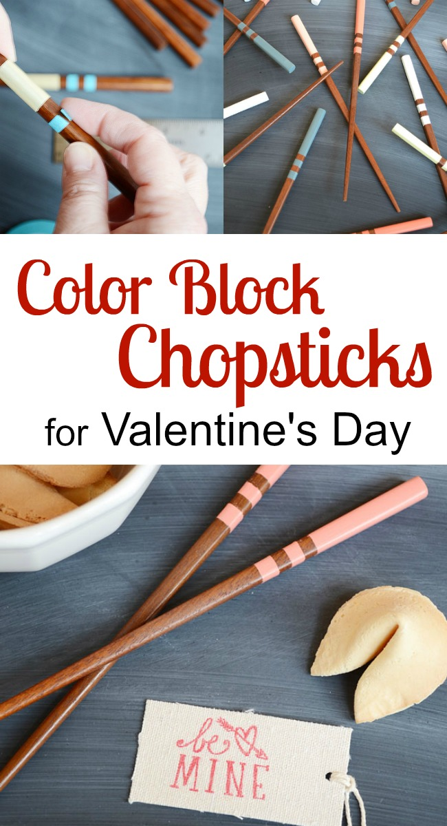 Learn how to make color block chopsticks for Valentine's Day.  Everyone has their own designated color with this easy craft.