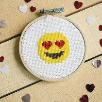 Delightful Heart Eyes Emoji Cross-stitch Pattern - Free for Valentine's Day