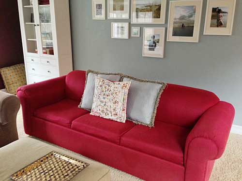 Our Red Sofa Has Served Us Faithfully For 16 Years And Was Ready For A New  Location. After All That Time, I Still Think The Color Is Awesome, ...