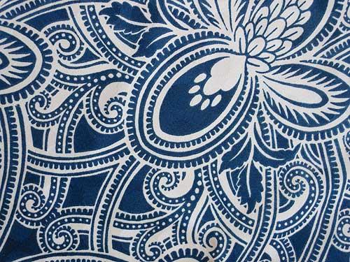 Robert Allen Damod Fabric in Indigo | Storypiece