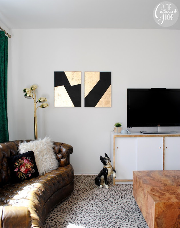 DIY Black & Gold Leaf Canvas Wall Art | The Gathered Home