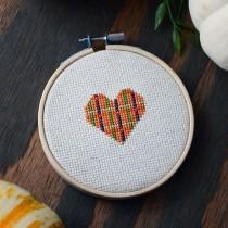 Fall Cross-stitch Heart | Storypiece.net