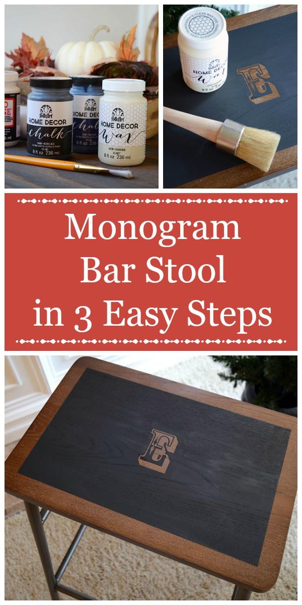 3 Step Monogram Bar Stool   Storypiece.net