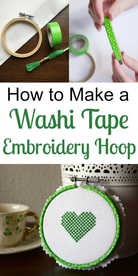 How to Make a Washi Tape Embroidery Hoop with Heart Pattern