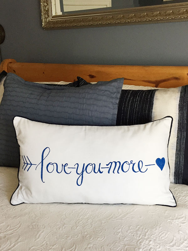 Hand Lettered Love You More Pillow | Storypiece.net