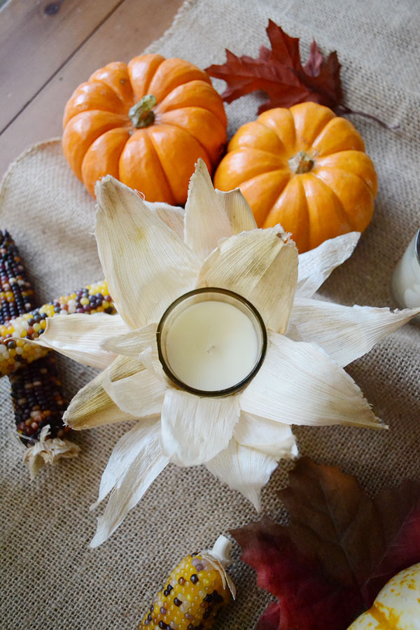 Cornhusk Wrapped Candle for Fall | Storypiece.net