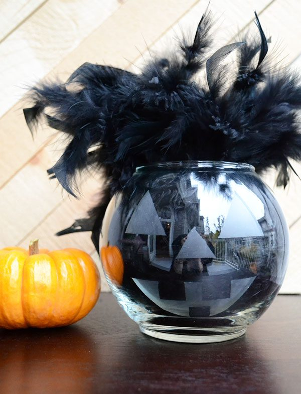 Glass Etched Halloween Jack O Lantern Storypiece