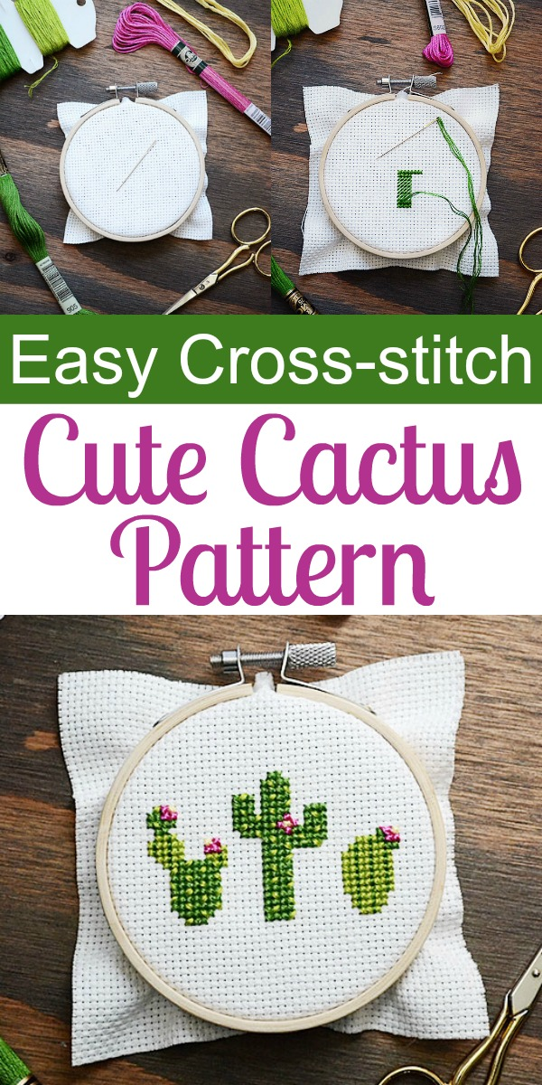How to Make Cute Cactus with this Easy Cross-stitch Pattern